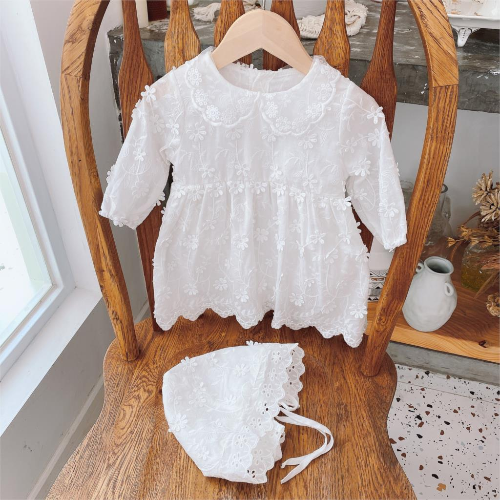 Baby Lace Romper Spring and Autumn Girls White Flower Princess Romper Girls Princess Dress One-piece Bodysuit+Hat faux feather and lace detail sleep romper