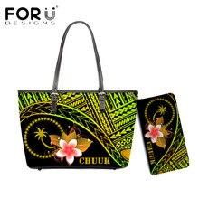 FORUDESIGNS Fashion Shoulder Bag For Women Chuuk Polynesian With Plumeria Flower Print Vintage Luxur