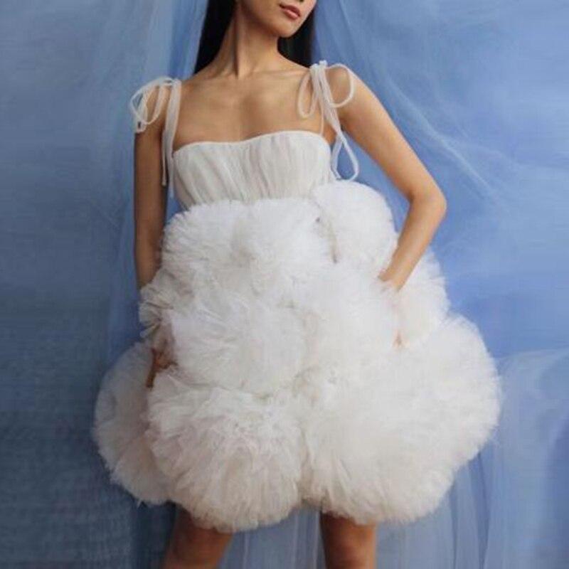 Elegant White Spaghetti Strap Tulle Prom Gown 2020 Puffy Ruffle Tutu Party Dress Fashion Tulle Formal Dresses Custom Made