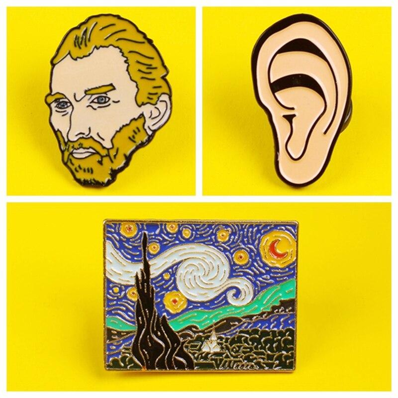 Vincent Van Gogh kulak emaye Pin tarihi ressam rozetleri broşlar yaka özel Pin çanta yaka sanatçı takı arkadaşlar için hediye