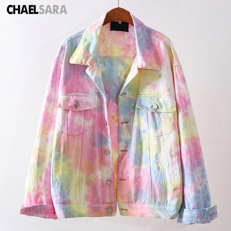 Mode arc-en-ciel couleurs Denim veste femmes Koean décontracté en vrac Jean manteau femme Cowboy hauts dextérieur