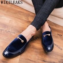 Chaussures de fête hommes robe Coiffeur chaussures formelles hommes classique luxe Slip robe de bureau chaussures hommes 2020 robe italienne Erkek Ayakkabi