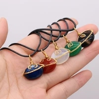 fashion natural stone oval agate winding copper wire pendant multicolor necklace handmade exquisite necklace jewelry gift party