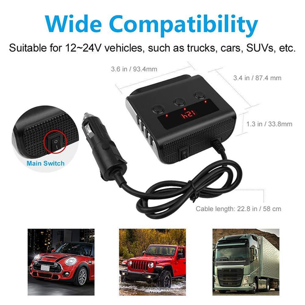 Купить с кэшбэком 12V/24V 100W Car Cigeratte Lighter Splitter 3-Socket with 4 USB Ports LED Power Display Usb Charger