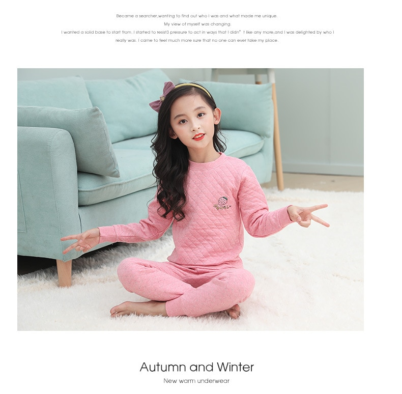 ملابس داخلية حرارية للأطفال, ملابس داخلية حرارية للأطفال للأولاد والبنات ملونة من القطن السميك ملابس دافئة متوسطة وكبيرة للأطفال
