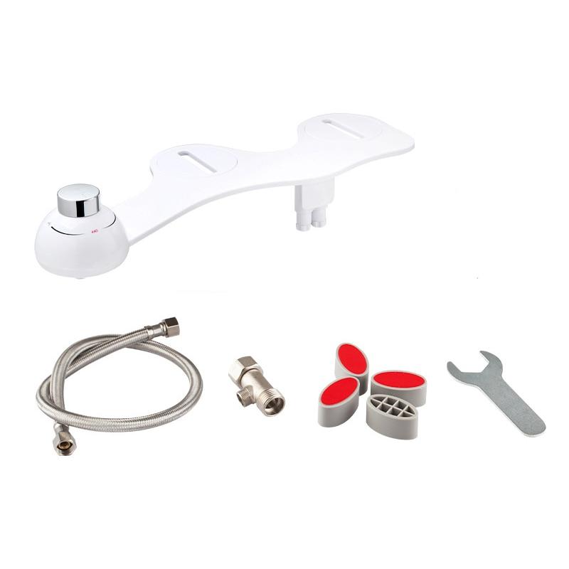 Boquilla de limpieza de agua dulce, bidé mecánico no eléctrico, accesorio de inodoro, Spray de lava trasero para mujer (blanco)