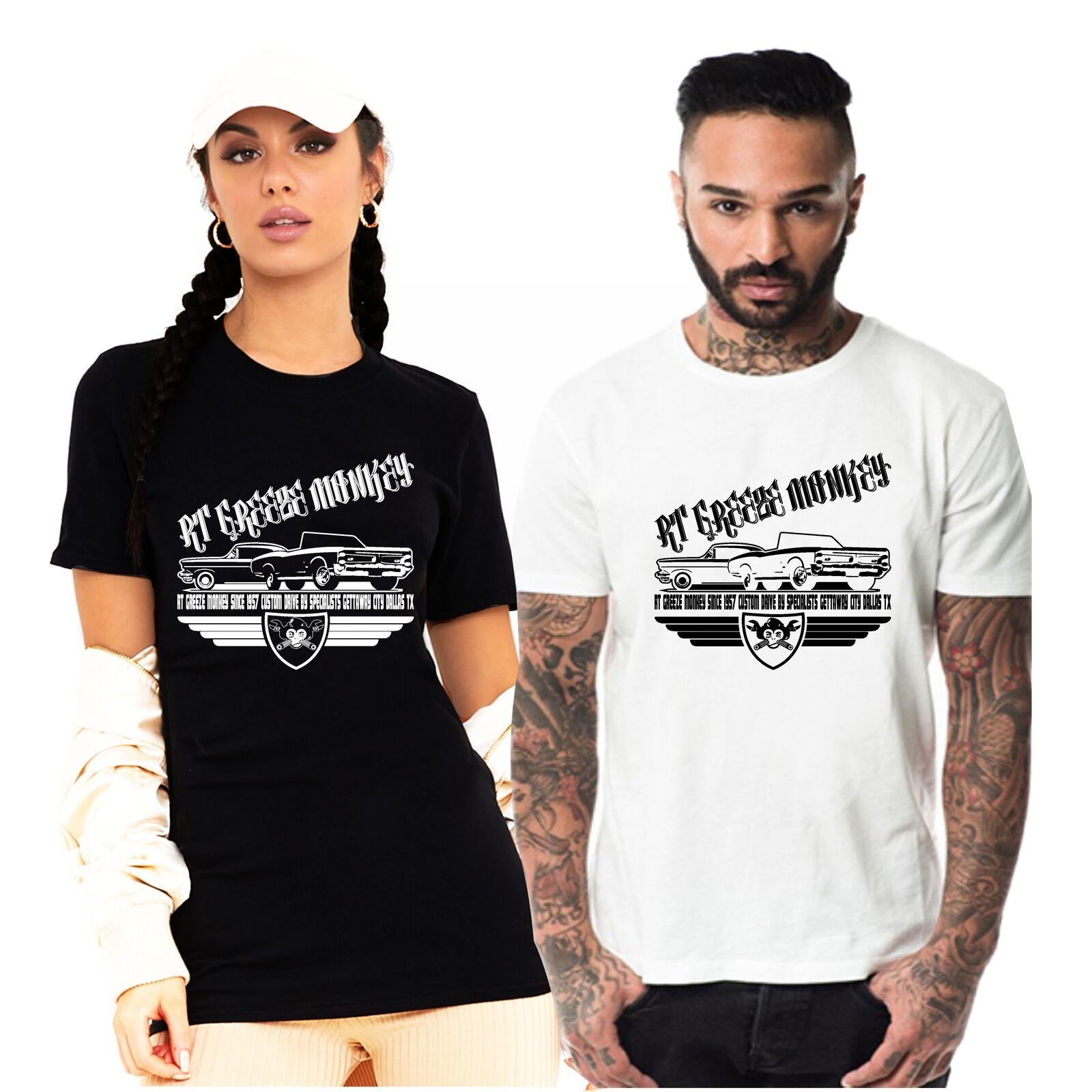 Mens T camisa Greeze mono 1957 garaje de coche chulo costumbre americana