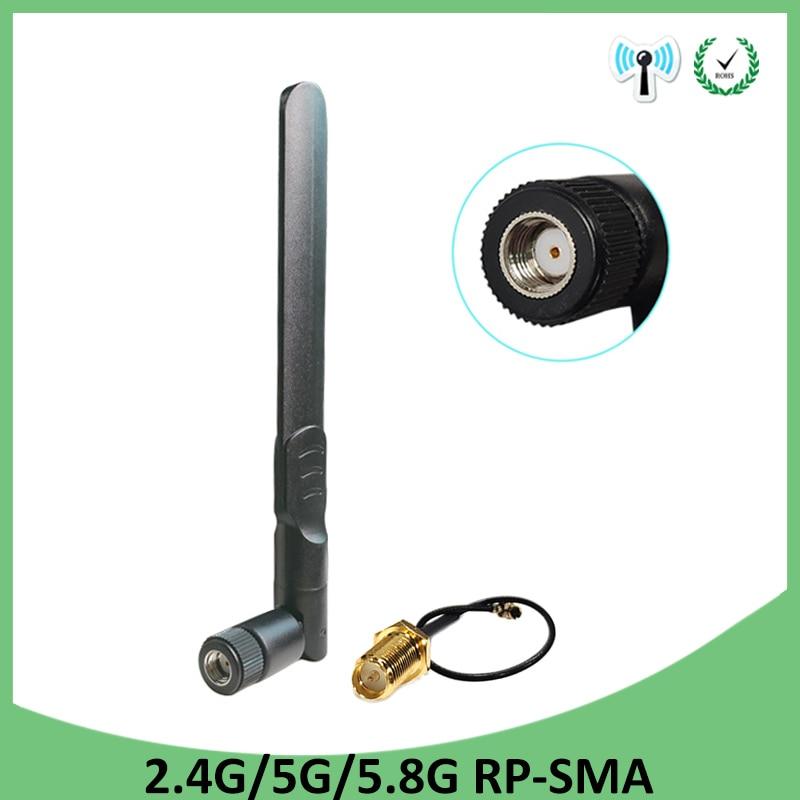 20 pces 2.4 ghz wifi antena 5dbi RP-SMA conector macho 2.4 ghz antena wi-fi roteador + 21cm pci u. fl ipx para sma macho trança cabo