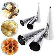 Stożek ze stali nierdzewnej kształt spiralny rogalik dania wskazał metalowy spiralny przyrząd do pieczenia do robienia rogalików chleb rolkowy