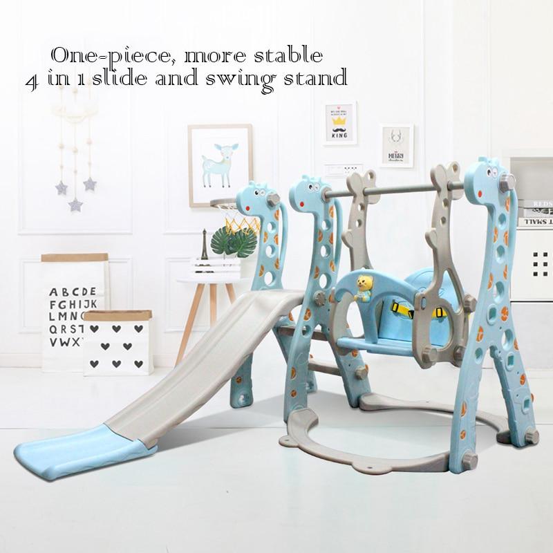 Multifunction Baby Toy Indoor Macaron Slide + Swing + Basketball Soccer Goalpost Set Kids Outdoor Toys