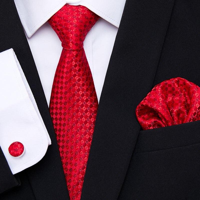AliExpress - New Red Tie Silk Woven Men Tie Necktie Hanky Cufflinks Set Luxury Men's Party Corbatas Office Gravatas
