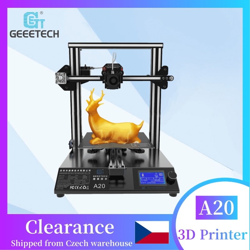FDM 3D Printer Geeetech A20, Fast Assembly High Accuracy Break-Resuming Capability and Aluminum Profile Frame, Ship from Europ