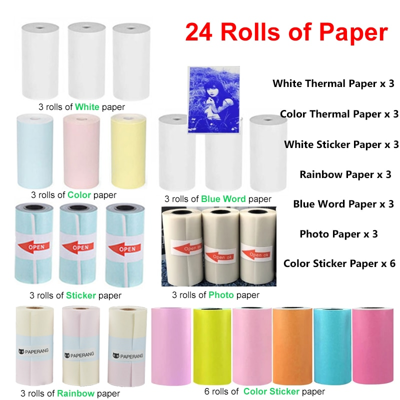 Paperang-لفات ورق طباعة الصور الحرارية Peripage ، للملصقات الملونة ، لـ Paperang P1 P2 Peripage A6