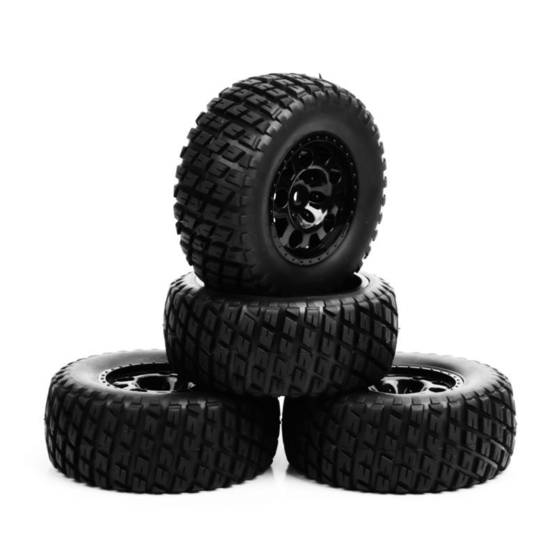 Rc Wheel 1:10 Short Course Truck Tires Set 1/10 Tyre Wheel Hub 4 pcs/Set For Traxxas Slash Tires HPI on the field Car Parts