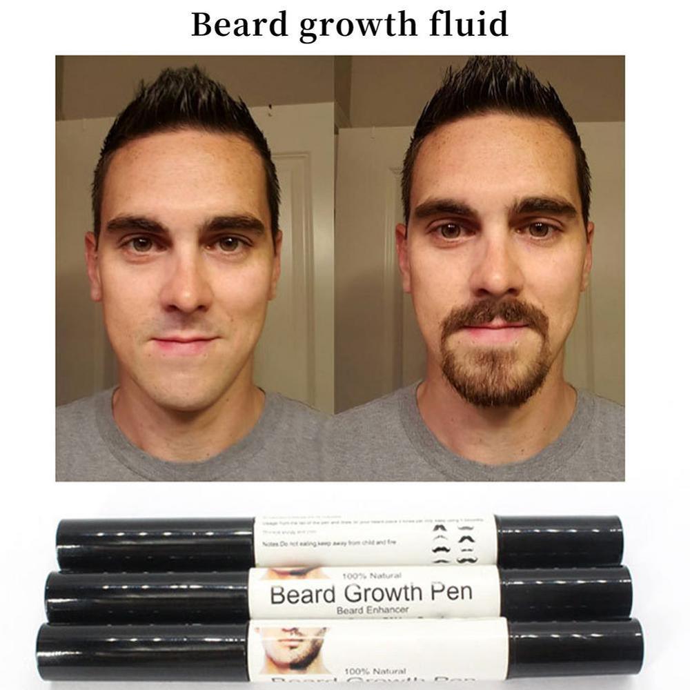 Pluma de crecimiento de barba para hombre, pluma duradera de doble cabeza...