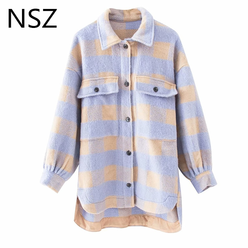 Nsz feminino xadrez tweed jaqueta de lã casaco de grandes dimensões treliça mistura de lã quente tartan jaquetas verificado streetwear outwear