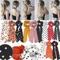 polka dot printed fabric hair band double ponytail floating towel hair rope hair accessories hair band