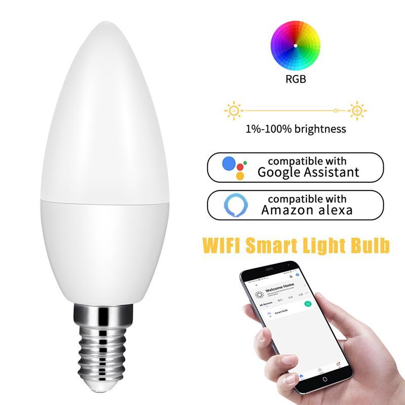 Bombilla de vela inteligente WiFi, control remoto por voz, luces Led inteligentes de vela, compatible con Amazon/Google Home/IFTTT