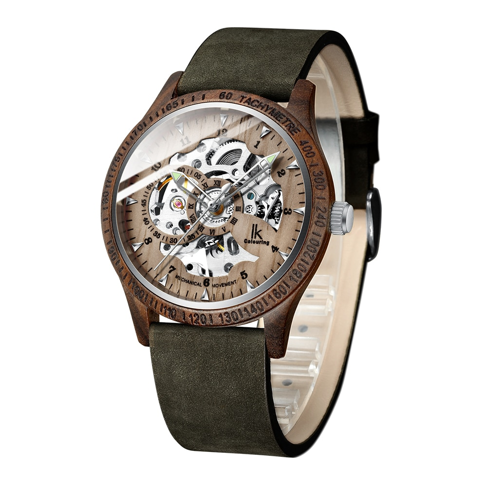 IK Colouring Watch Fashion Casual Wooden Watches Leather Strap Automatic Mechanical Watches Skeleton