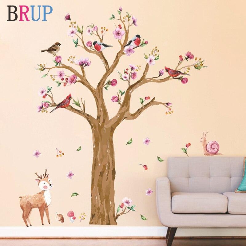 Etiqueta engomada de la pared del árbol de los animales de la historieta de 145*170cm para la habitación de los niños pintado a mano de los pájaros de la acuarela etiqueta de la pared