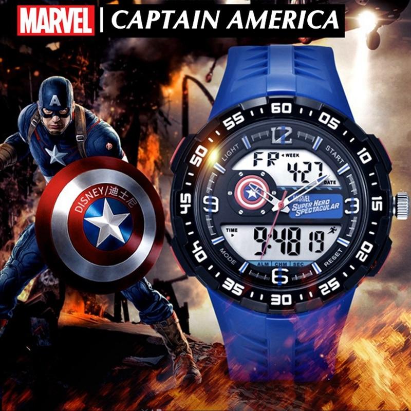 Reloj deportivo para hombre de Marvel, relojes digitales superhéroes de cuarzo, relojes grandes de goma a prueba de agua para adolescentes y jóvenes, reloj de moda de lujo nuevo