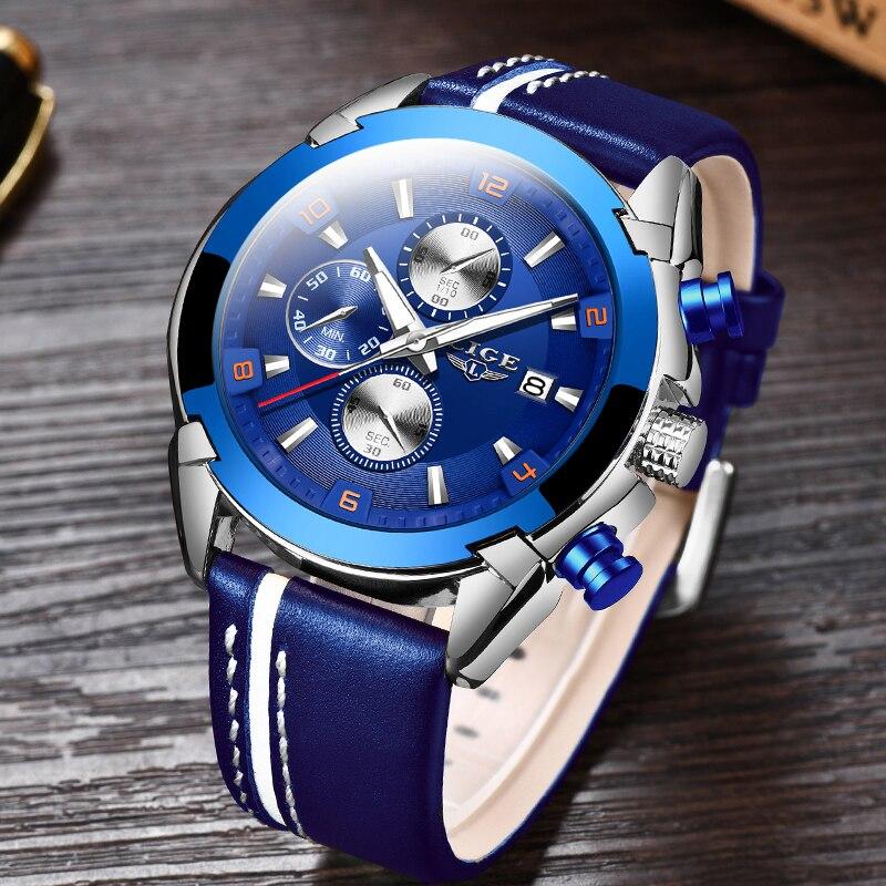 Reloje 2020 LIGE мужские часы, кожа, 24 часа, дата, кварцевые часы для мужчин, люксовый бренд, водонепроницаемые спортивные мужские часы, Relogio Masculino