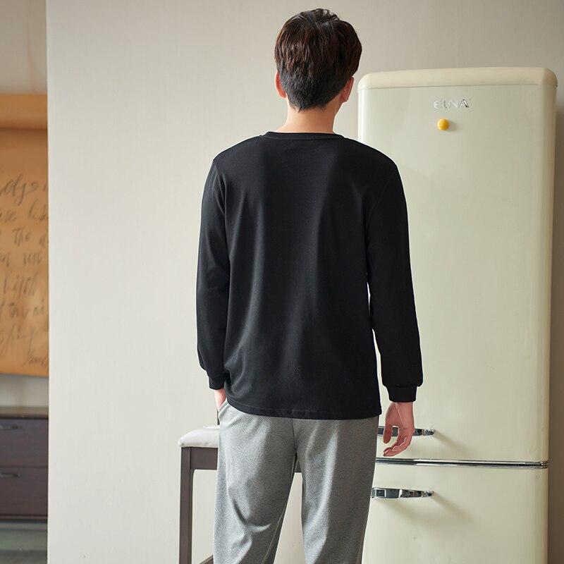 ATUENDO Весна Мода Черный Пижамы Комплекты для Мужчин 100% 25 Хлопок Пижамы Атлас Мягкие Пижамы Атофф Дом Осень Шелк Мужчины% 27 Ночное белье