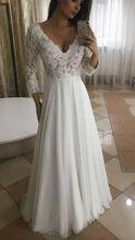 Robe De mariée blanche à manches longues, décolleté plongeant en V, avec des applications en dentelle, robe De mariée Sexy, 2020