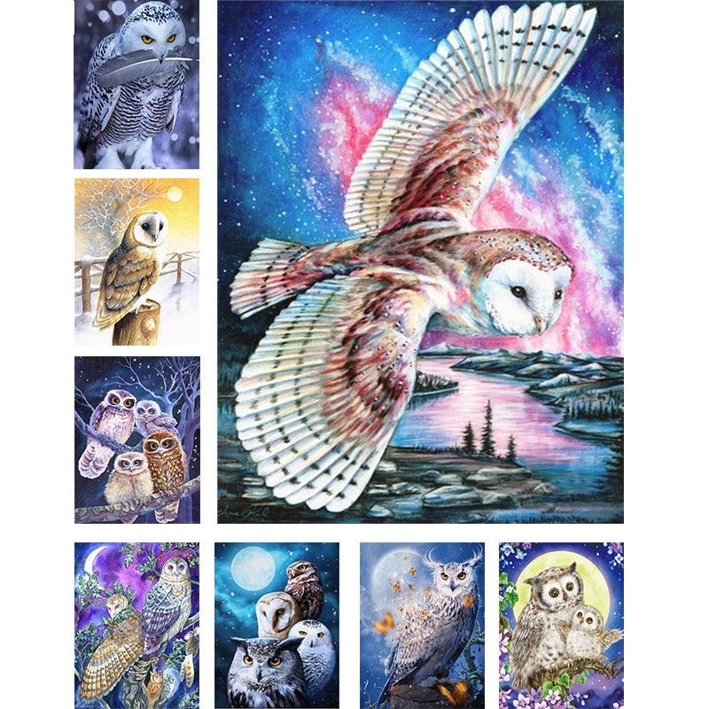 Nova pintura diamante quadrado completo/broca redonda desenhos animados animals5d daimond pintura coruja bordado imagem arte