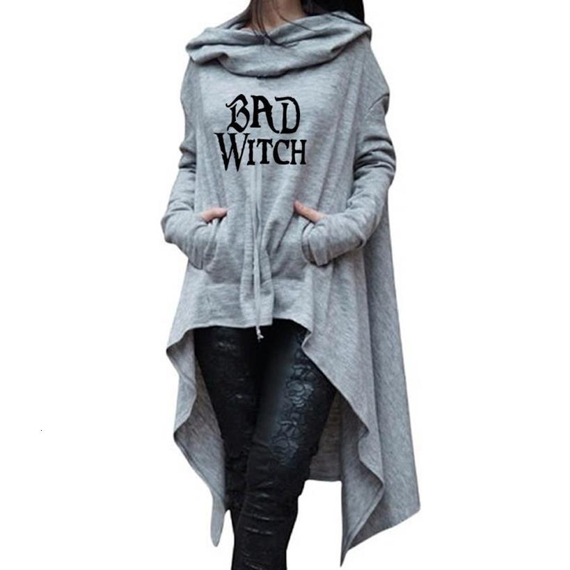 Длинные асимметричные толстовки с капюшоном и надписью «Bad Witch» на Хэллоуин, женские топы, свитшоты, женские кавайные свободные платья, плат...