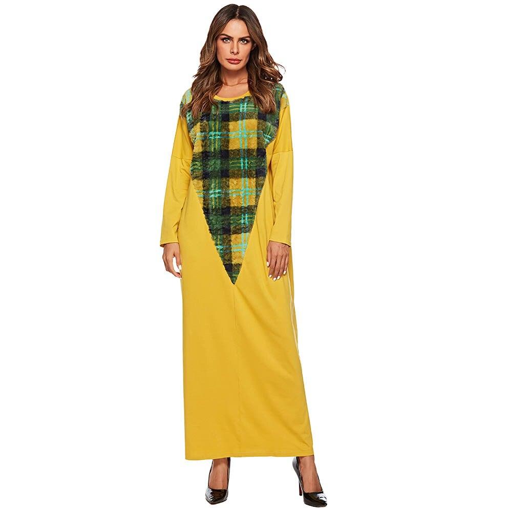 Vestido Abaya musulmán mujer kimono de tartán Jilbab Jubah Elbise ropa islámica Turquía Dubai árabe marroquí Kaftan Maxi Hijab Vestidos