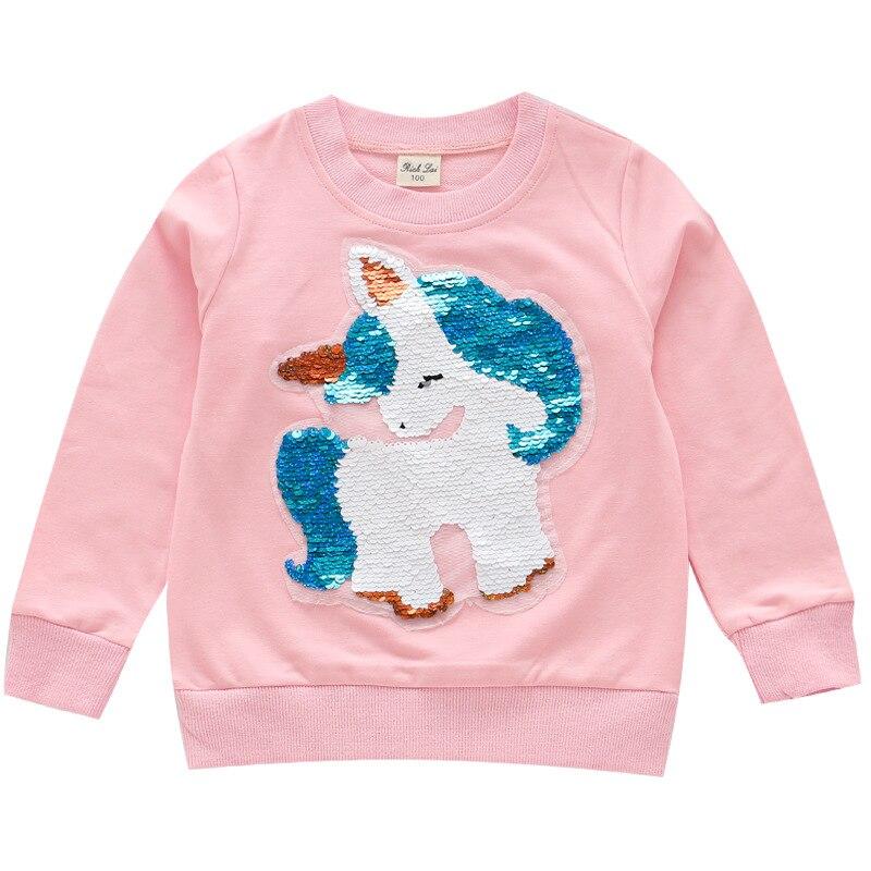 Outono meninas moletom unicórnio lantejoulas crianças camiseta algodão manga longa crianças topos t moda meninas roupas