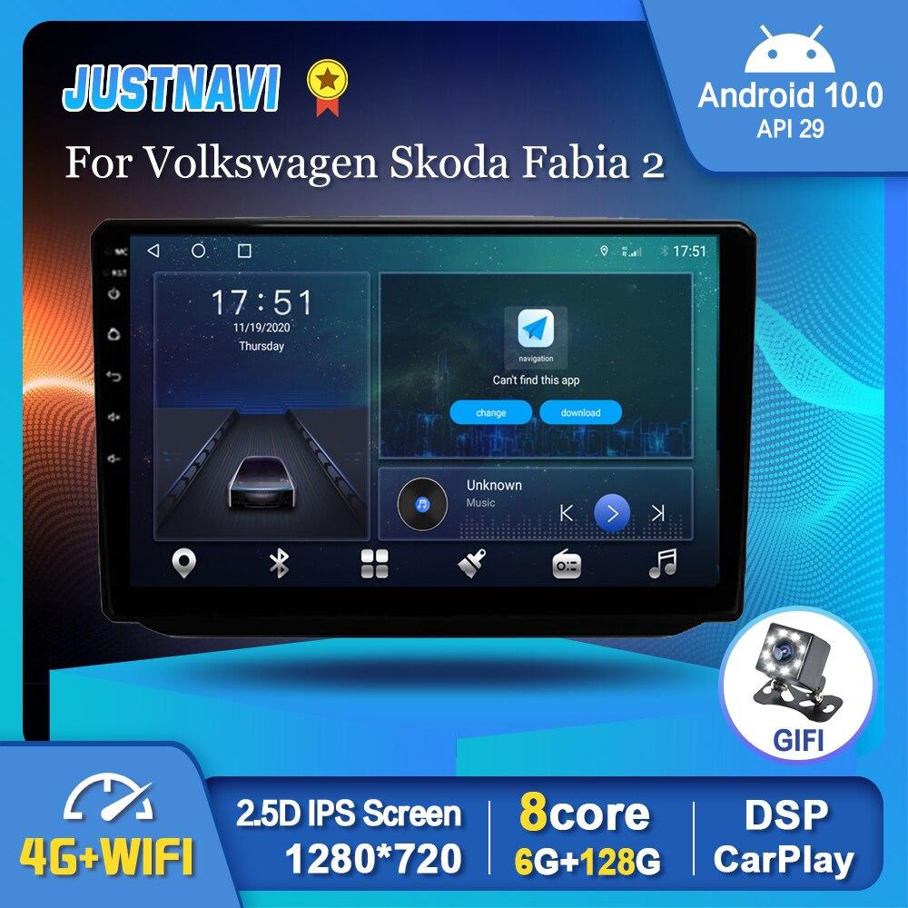 Фото - Автомагнитола на Android 10,0 для Skoda Fabia 2 2007-2014 с навигацией, мультимедийный видеоплеер для Carplay, автостерео, BT, GPS, Авторадио с Wi-Fi автомагнитола 2 din мультимедийный видеоплейер с gps навигацией bluetooth carplay dvd для toyota venza 128 2008 6g 2016g