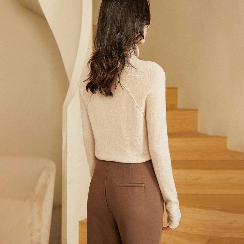 2021100% cashmere sweater ladies pile pile collar loose casual fashion base sweater blouse enlarge
