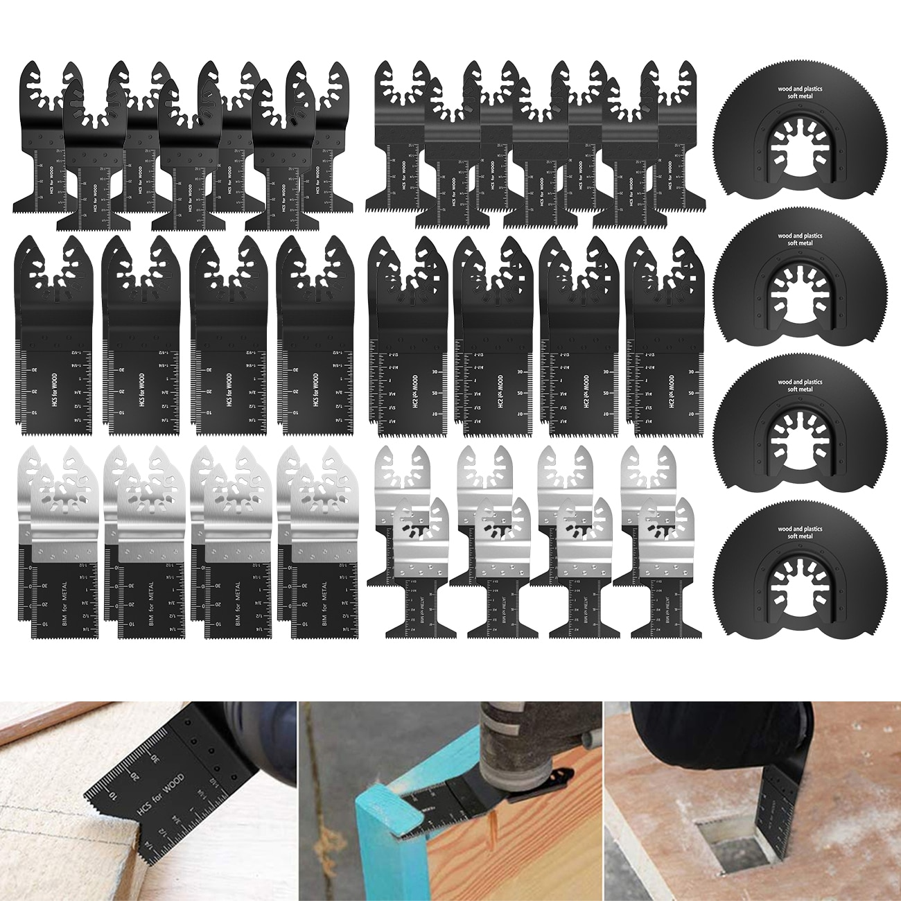 50 pçs oscilante multi ferramenta lâmina de serra para fein bosch multi mestre makita ferramentas de corte madeira para dremel lâmina lâminas energia