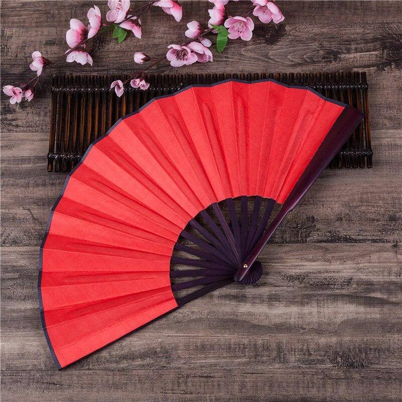 DIY chino japonés de Color liso de bambú grande Rave plegable ventilador de mano suministros para fiesta en casa para hombres/mujeres Dropshipping H