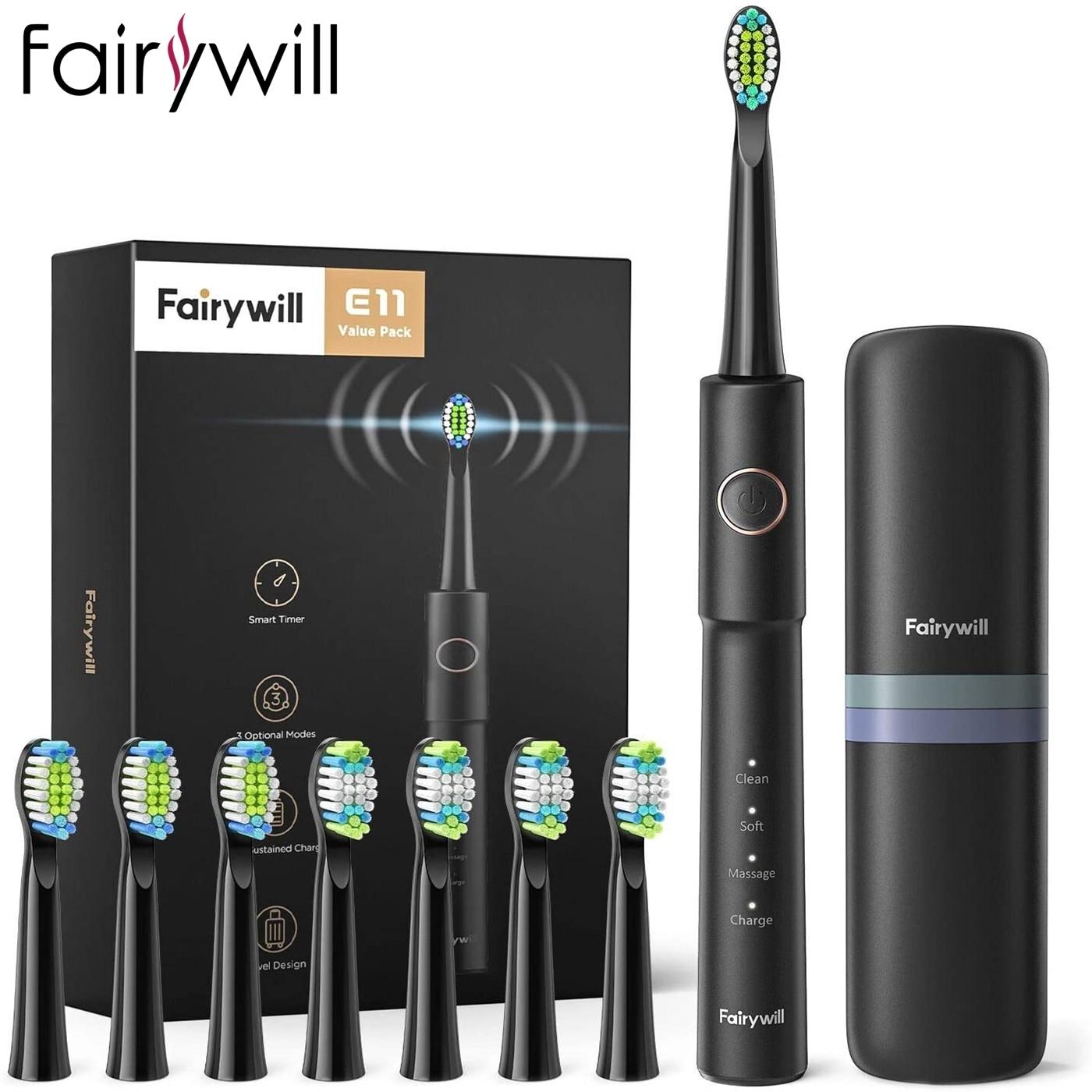 Fairywill فرشاة أسنان كهربائية بالموجات الصوتية E11 للماء USB تهمة فرشاة الأسنان الكهربائية القابلة لإعادة الشحن 8 فرشاة استبدال رؤساء الكبار