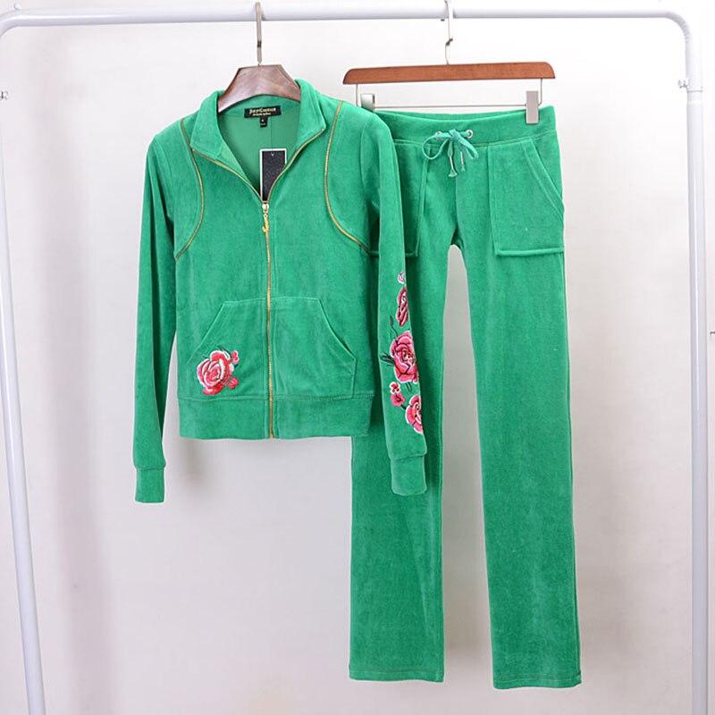 Женский спортивный костюм, повседневный костюм из 2 предметов, топ и брюки с бархатной вышивкой, пикантный свитшот на молнии, весна-осень 2020