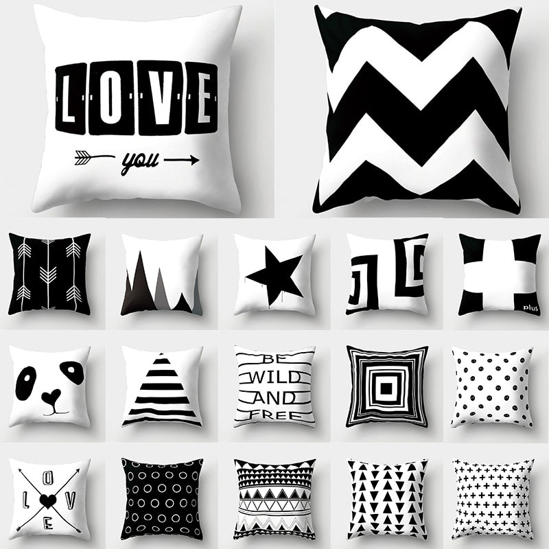 Black White Geometric Cushion Cover 45x45 Pillowcase Sofa Cushions Decorative Pillowcover Polyester
