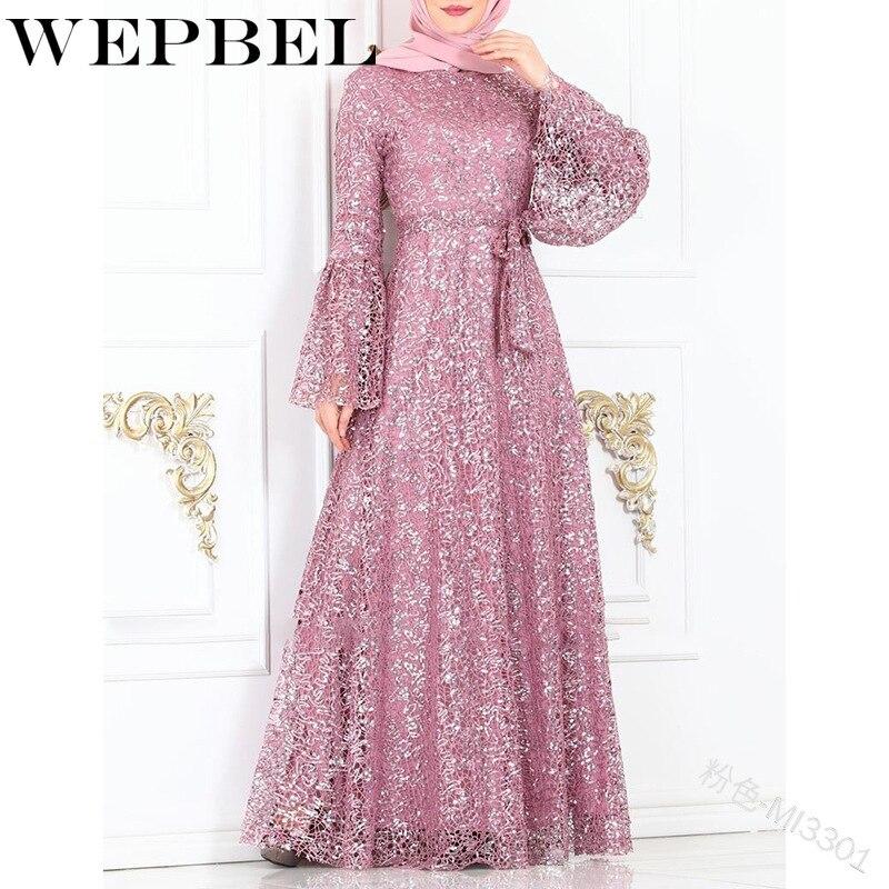 WEPBEL-vestido Abaya para señora, elegante vestido largo informal de Color sólido de malla para otoño, mangas mariposa musulmana