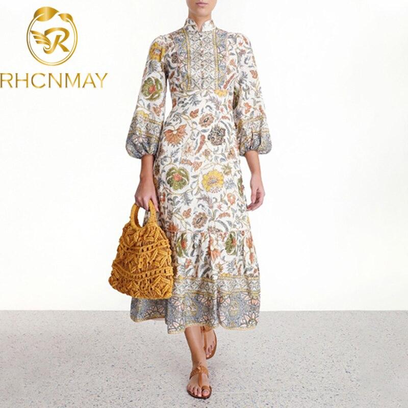 Runway Vintage Print Dresses Female Stand Collar Lantern Long Sleeve High Waist Women's Dress 2020 Summer Fashion Clothing