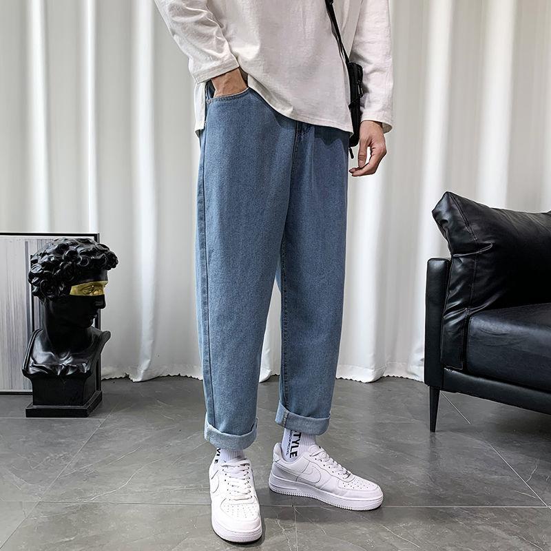 Прямые джинсы в гонконгском стиле, Мужские Молодежные Свободные повседневные мужские Студенческие Брюки с широкими штанинами, прямые длин...