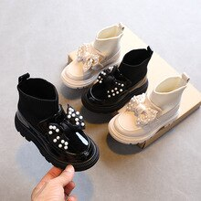 2021 Autumn New Children Shoes Girls Bow Casual Fashion Boots Baby Mirror Leather Shoes Sweet Back T