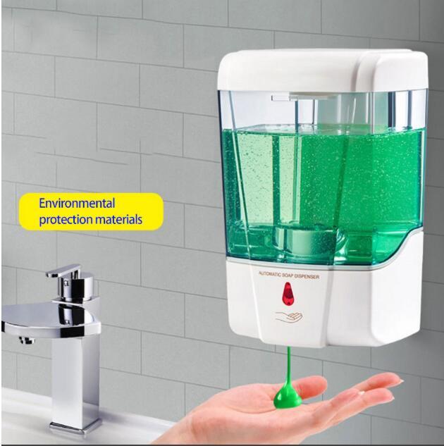 Envío gratis de fedex, 30 Uds., dispensador automático de jabón de 700ml, Sensor táctil, dispensador desinfectante de manos, montado en la pared para baño, cocina