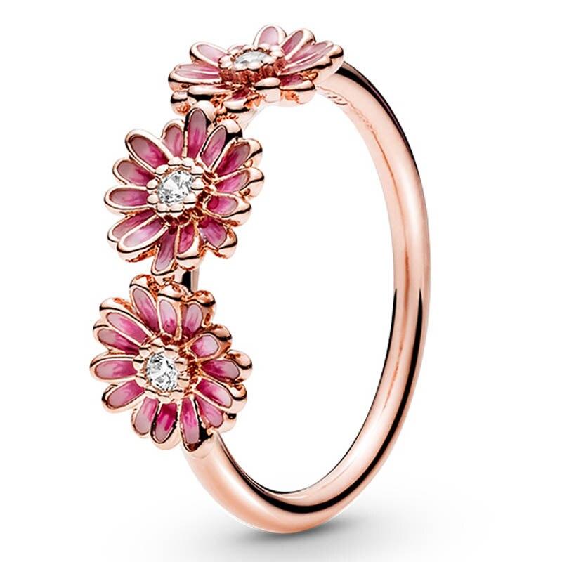 Подлинное кольцо из стерлингового серебра 925 пробы, розовое кольцо с ромашками, эмалированное кольцо трио с цветком для женщин, подарок на с...