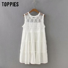 2020 white lace dress summer mini dress women sexy sleeveless vestidos flowers embroidery