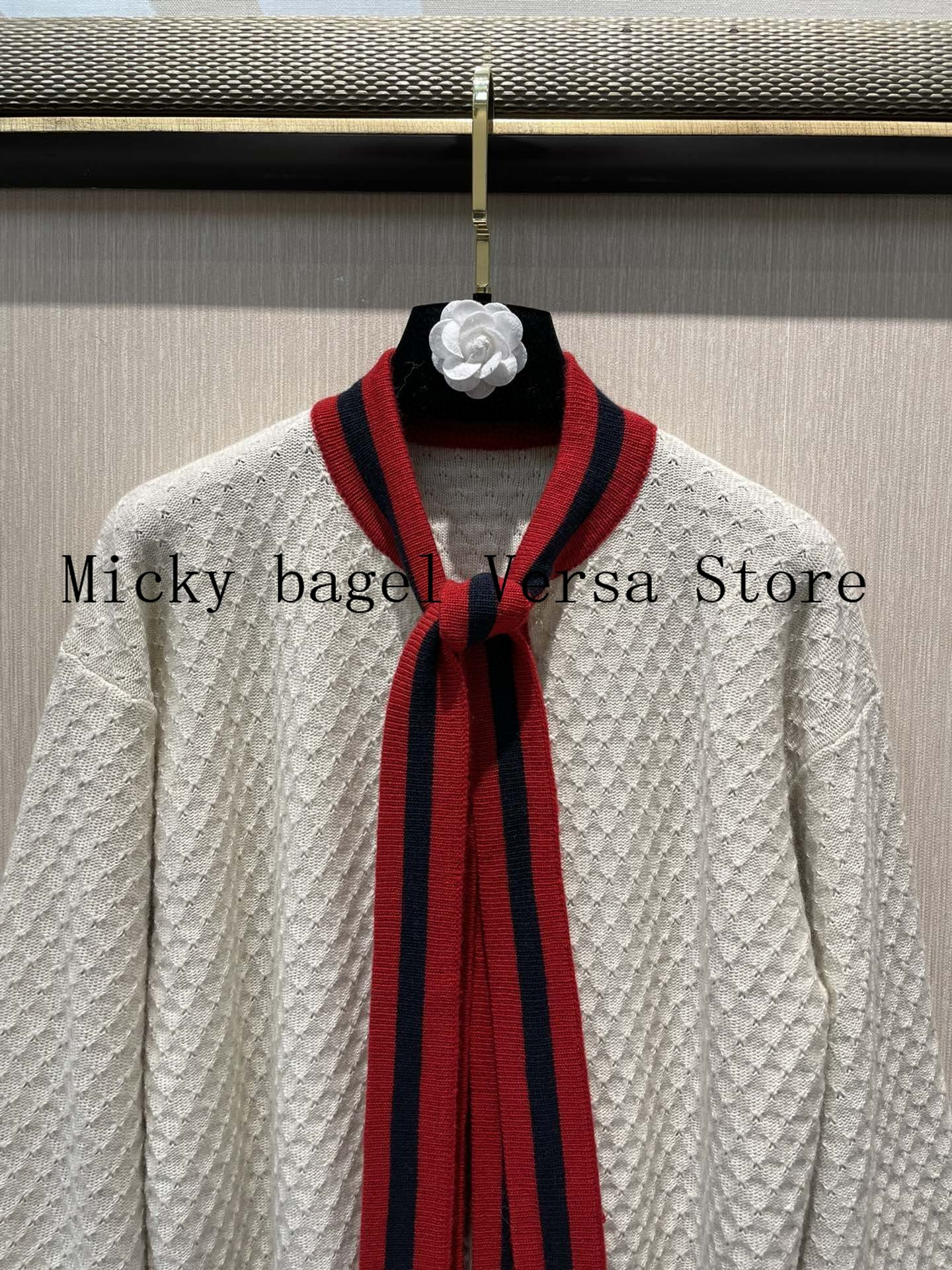 2021 luxury brand color contrast letter printing fashion women's top versatile bow collar age reducing knitted cardigan coat enlarge