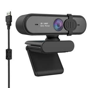 K20 Webcam USB Driver-Free 2 Million Autofocus with Microphone Black Webcam Suitable for Live Teaching Office(with Base)