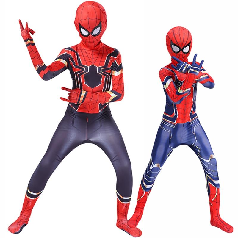 Halloween niños adultos traje de araña Iron Man versos Spiderboy Miles Morales superhéroe juego de rol disfraz Zentai Bodysuits C39A66