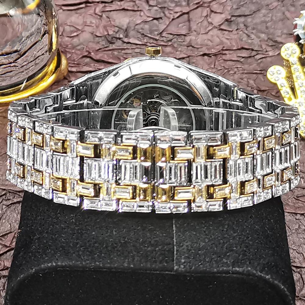 Hip Hop MISSFOX Automatic Mechanical Men Watches Full Square Diamond Diver Bling Watch Tourbillon AAA Clocks Relógio Masculino enlarge